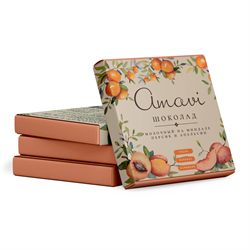 Шоколад молочный на миндале Персик и апельсин, 70г, Амави