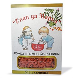Рожки из красной чечевицы без глютена, 400г, Иван да Марья