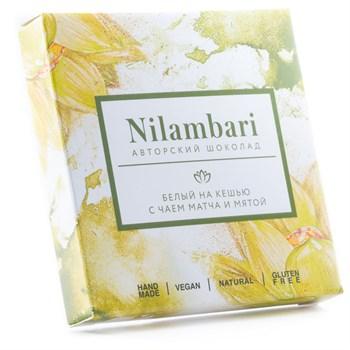 Шоколад белый с матча и мятой, 65 г, Nilambari - фото 16544